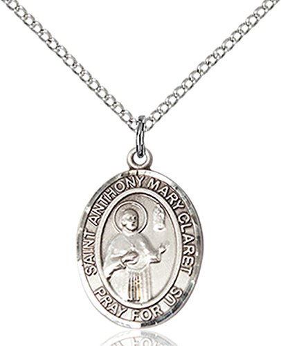 Sterling Silver Saint Anthony Mary Claret Medal Pendant  3 4 Inch