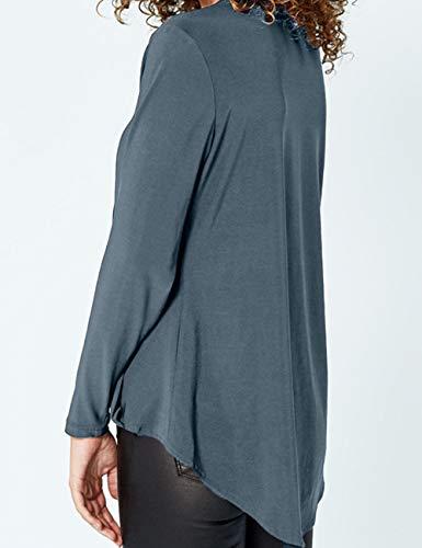 Casual Bleu Clair Blouse Tops Shirts T Mousseline lgant Tunique Chic Grande Femme Soie de Chemise Longue Tee V Manche Chemisier Taille Hauts Col w16xPpBq