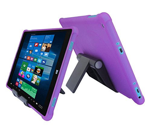 """iShoppingdeals Protecive TPU Cover Case + Adjustable Stand for Nuvision 10.1""""(TM101W610L) Tablet Windows 10 (2017 Release) (Purple)"""