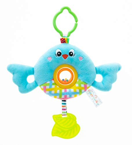 RichChoice Bird Baby Hanging Toys:3-6 Month,1-3 Year Old Toys for Stroller,Car Seat, Baby Cot; Round Blue Bird Toy for Newborn, Infant, Toddler,Babies with with Rattle Ring, Rotatable Type, Teether