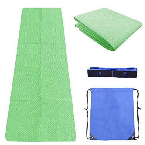 Sportout TPE Yoga Mat, Lightweight Folding Travel Fitness & Exercise Mat, Non-Slip Travel Yoga Mat with Yoga Strap…