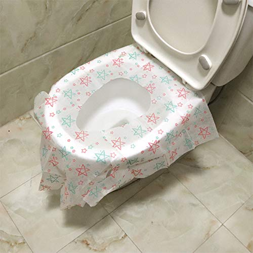 [40 Packs] Disposable Toilet Seat Covers Extra Large Size Portable Potty Seat Cover Perfect for Adults Toddlers and Kids Potty Training with Individually Wrapped Home Travel Use (Star)
