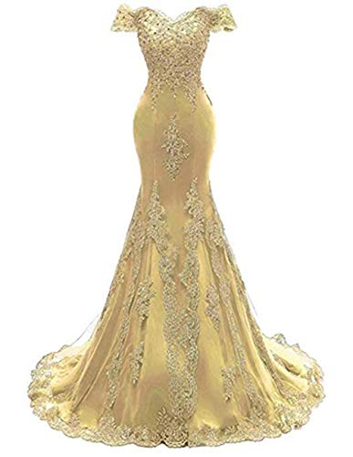 - Tsbridal Women's Off Shoulder Evening Gown Lace Mermaid Beading Sequins Appliques Prom Dresses Sweetheart Sleeves Gold