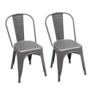 Joveco Tolix Style Bistro A Dining Side Chair - Set of 2 (Antique Grey)