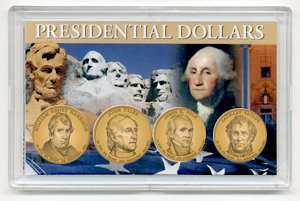 2009 D 4 Coin Uncirculated Presidential Dollars in Full Color Holders Uncirculated