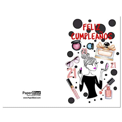 Amazon.com: Make Up Feliz Cumpleanos 21st Birthday Card in ...