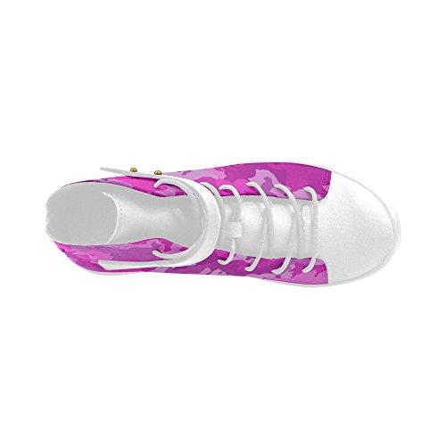 D-verhaal Ronde Neus Hoge Schoenen Camouflage Hot Pink Damessneakers