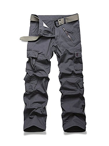 Must Way Women's Casual Loose Fit Camouflage Multi Pockets Cargo Pants Gray -