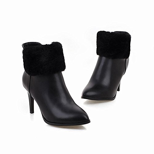 Latasa Womens Pointed Toe High Heels Ankle Dress Boots Black AZkfY0KPF