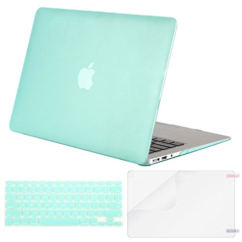 MOSISO Plastic Hard Case & Keyboard Cover & Screen Protector Only Compatible MacBook Air 13 Inch (Models: A1369 & A1466, Older Version Release 2010-2017), Mint Green