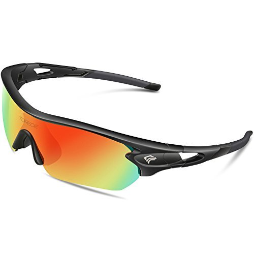 TOREGE Polarized Sports Sunglasses with 5 Interchangeable Lenes for Men Women Cycling Running Driving Fishing Golf Baseball Glasses TR002 (Black&Rainbow Lens)