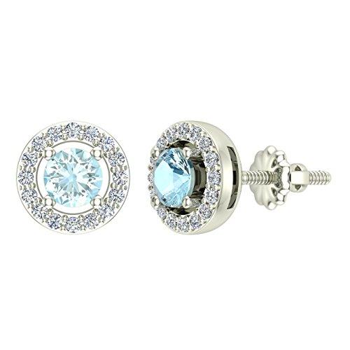 Natural Sky Blue Aquamarine Halo Stud Diamond Earrings 14K White Gold Certified ()