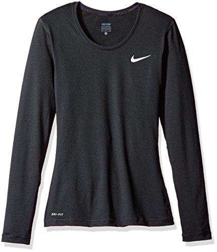 New Nike Women's Pro Cool L/S Shirt Black/White Large