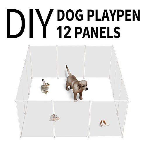 Allisandro Portable Pop-Up Pet Fence, Cage, Playpen, DIY Exercise Yard Kennel Transparent White for Dogs, Cats, Small Pets 12 Panels, 20x28