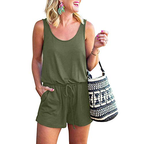 Womens Short Jumpsuit,Cenglings Ladies O Neck Sleeveless Tank Top Short Rompers Loose Beach Playsuit with Pocket Green ()