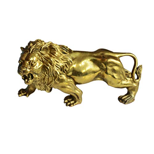 Addune African Wild Lion Statue Art Collectible Lion Figurine Handmade Brass Magical Noble Wealth Figurine Home Decor Ornaments (Gold) (For Sale Lion Statue Chinese)