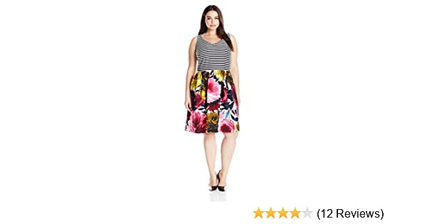 Taylor Dresses Womens Scuba Mixed Media Fit and Flare Floral Bottom Dress