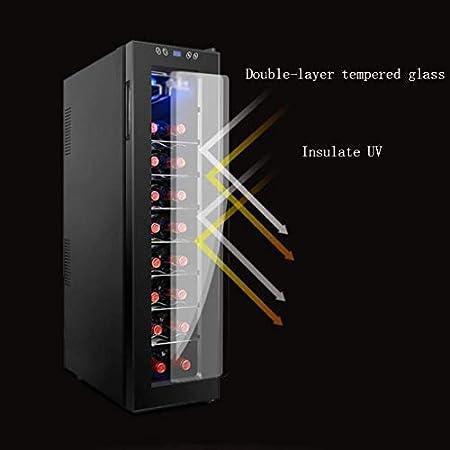 Refrigerador de Vino - Refrigerador de refrigerador de Vino Tinto Enfriador de Vino Vertical - Mini refrigerador de Vino Compacto Independiente 24 Botellas - Enfriamiento electrónico -60W