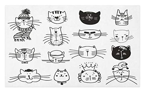 - Lunarable Cute Doormat, Cat Kitten Heads Caricature Portraits Group Hand Drawn Different Lovely Faces, Decorative Polyester Floor Mat with Non-Skid Backing, 30 W X 18 L Inches, Black White