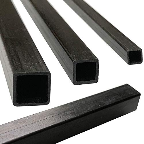 (2) Pultruded Square Carbon Fiber Tube - 10mm x 10mm x 1000mm - (2) Tubes