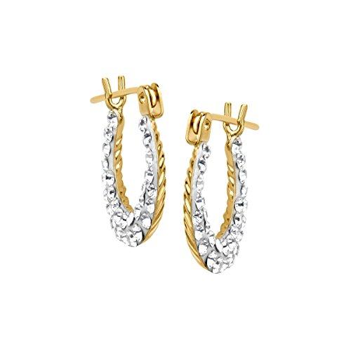 Crystaluxe Girl's Reversible Hoop Earrings with Swarovski Crystals in 14K - Crystal Gold 14k Reversible