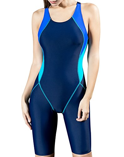 Uhnice Womens Unitard Swimwear One Piece Surfing Suit, Navy/Blue, XX-Large(US12-14)