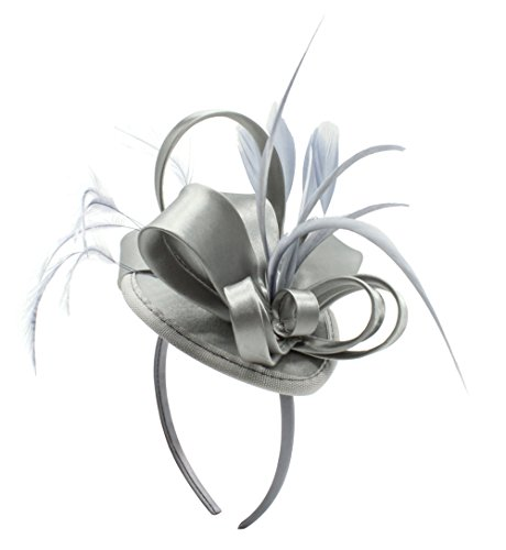 Womens Fashion Derby (Fascinator Hats For Women Feather Cocktail Party Hats Bridal Kentucky Derby Headband (Grey))