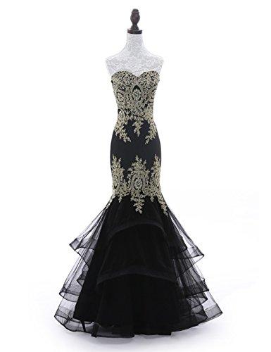 Tiered Satin Dress Black - 2