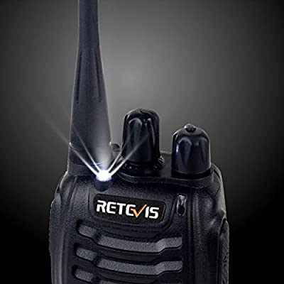 Retevis H-777 Two Way Radio Rechargeable UHF 16CH 2 Way Radio Portable Outdoor Long Range Walkie Talkies with LED Flashlight Radios(Black, 2 Pack)