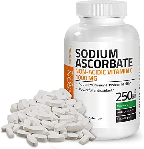 Sodium Ascorbate Non Acidic Vitamin C 1000 Mg Tablets - Gentle On The Stomach - Immune System Booster - Powerful Antioxidant - Non GMO Vitamin C Supplement, 250 Count