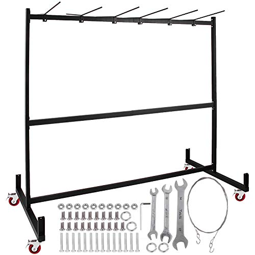 Folding Table Caddy - Happybuy Folding Chair Rack Dolly Cart with Locking Casters Transport Max 42 Chairs 12 Tables Heavy Duty Hanging Foldable Seat and Table Combo Trolly Rack Steel Folding Chair Cart