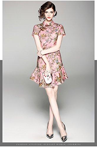 Estivo Estate Moda Elegante A Migliorata Coda Di Corta Pink Nuova Femminile Pesce Gonna Abito Cheongsam Temperamento Stampato Femminile 8n4wRgx