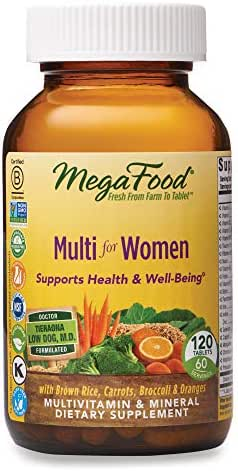 MegaFood, Multi for Women, Supports Optimal Health and Wellbeing, Multivitamin and Mineral Dietary Supplement, Gluten Free, Vegetarian, 120 tablets (60 servings)
