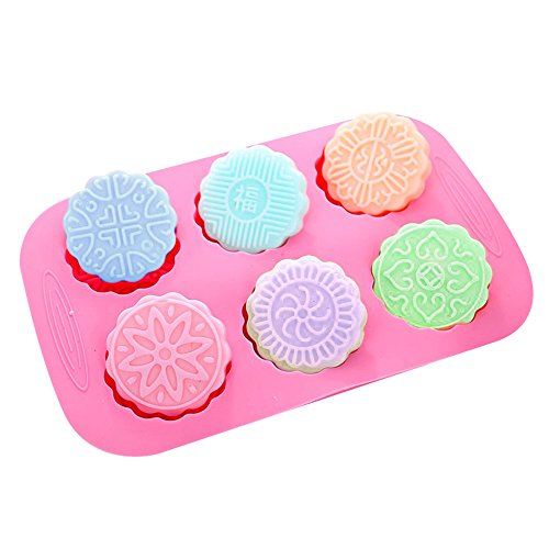 X-Haibei 6-cavity Round Mooncake Chocolate Muffin Soap Cookies Silicone Mold (Cookie Soap)
