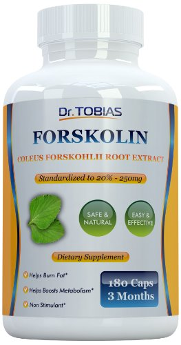Dr. Tobias Forskolin (180 Capsules) - Pure Coleus Forskohlii Root - Standardized to 20% for Best Weight Loss - Highly Recommended Product for Fat Burning - Best Quality Product on the Market - 250mg Per Serving with 50mg of Active Forskolin - Super Helpful for Changing Diet - Works Great with Dr Tobias Garcinia Cambogia and Dr Tobias Colon Cleanse - Backed By Amazon Guarantee