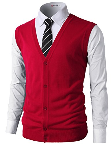 H2H Mens Casual Slim Fit Knitted V-Neck Button-Down Vests RED US L/Asia XL -