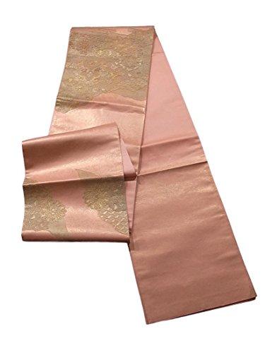 ねじれ責遅いリサイクル 袋帯 金彩 刺繍 花鳥文 正絹 お太鼓柄