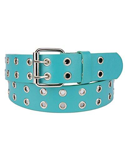 (NYFASHION101 Solid Rich Fashion Color Double Grommet Belt, Turq, Lg)