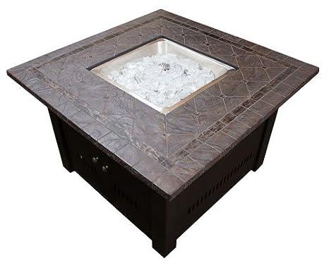 Estufa cuadrada de piedra sintética con tablero a mesa, marrón.: Amazon.es: Jardín