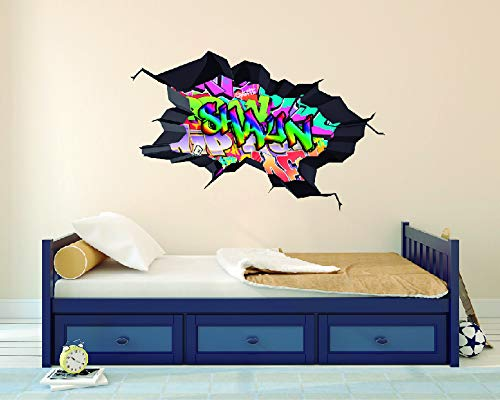 (e-Graphic Design Inc Custom Name Pretty Colorful Graffiti - 3D Effect - Brake Wall Effect 3D - Wall Decal for Rooms and Living Room (Y02) (Wide 40