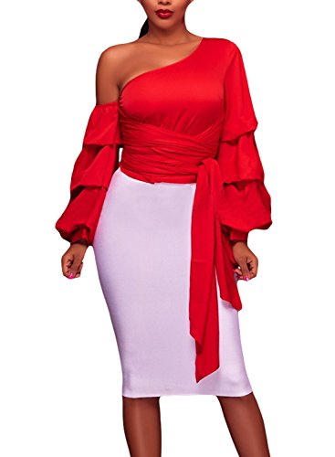 Elapsy Womens Fall Sexy Asymmetrical Shoulder Ruffle Long Sleeve Club Top Shirt Party Blouses Red Large