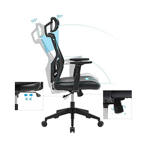 SONGMICS Chaise de bureau, Fauteuil ergonomique, Siège pivotant et inclinable, appui-tête réglable, accoudoirs et…