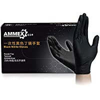 Thicken Disposable Gloves Black Nitrile Gloves, Powder Free, Non-Sterile, Food Safe, 100 Pack (Small, Black)