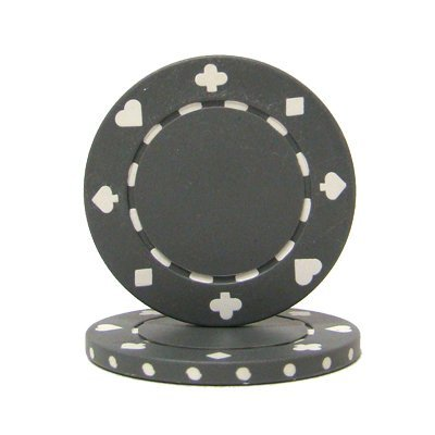 Brybelly Suited Poker Chips (50-Piece), Gray, 11.5gm Drink Token