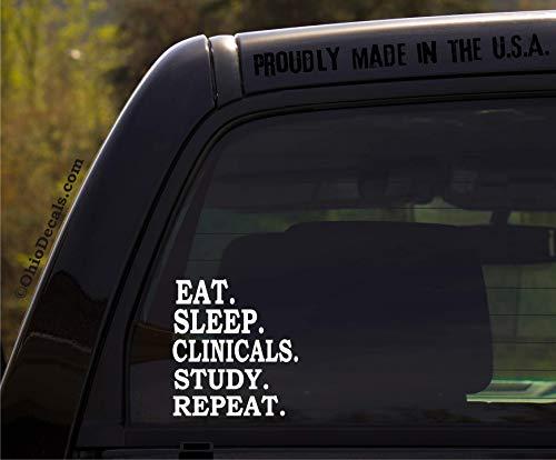 OhioDecals.com Eat Sleep Clinicals Study Repeat/Nursing Vinyl Window Sticker Decal