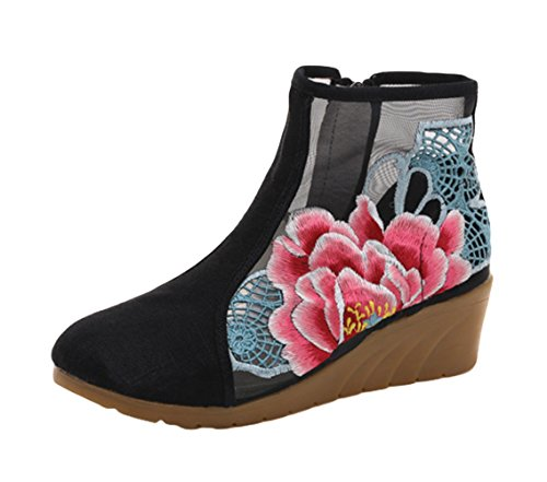 AvaCostume Womens Peony Embroidery Hollow Out Wedge Sandal Summer Ankle Boots Black Cv5sFylD