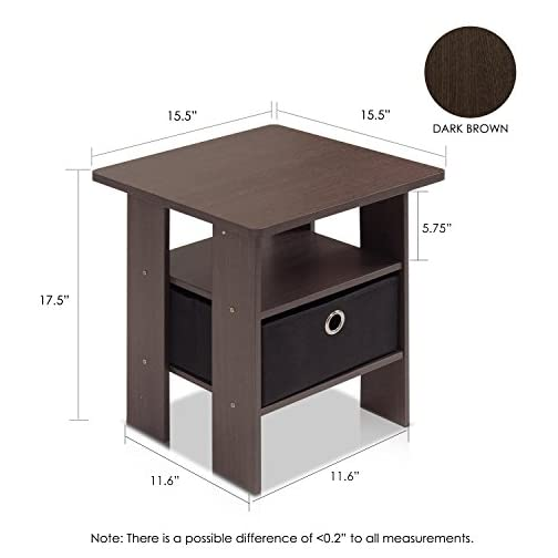Furinno End Table Bedroom Night Stand w/Bin Drawer, Dark Brown/Black