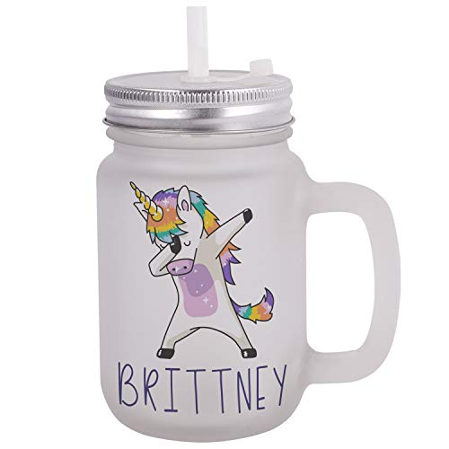 Personalized Gifts Dabbing Unicorn Coffee Mug - 12oz Frosted Mason Jar Coffee Mug with Lid and Straw -Birthday Gifts, Christmas Gifts, Mother's Day Gifts, Father's Day Gifts, Funny Mug for -