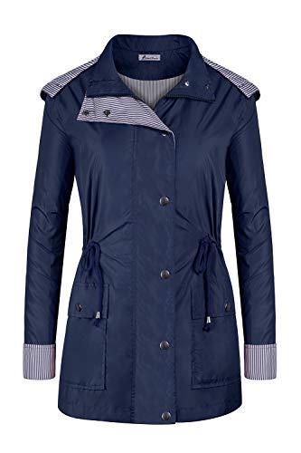 Twinklady Rain Jacket Women Windbreaker Striped Climbing Raincoats Waterproof Lightweight Outdoor Hooded Trench Coats Short Navy Blue S