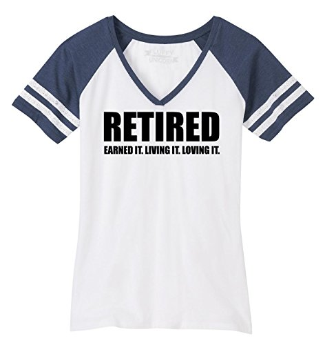 Ladies Game V-Neck Tee Retired Earned It Living It Loving Cute Retirement Mom White/Heathered Navy 3XL (T-shirt Loving White Ladies Game)